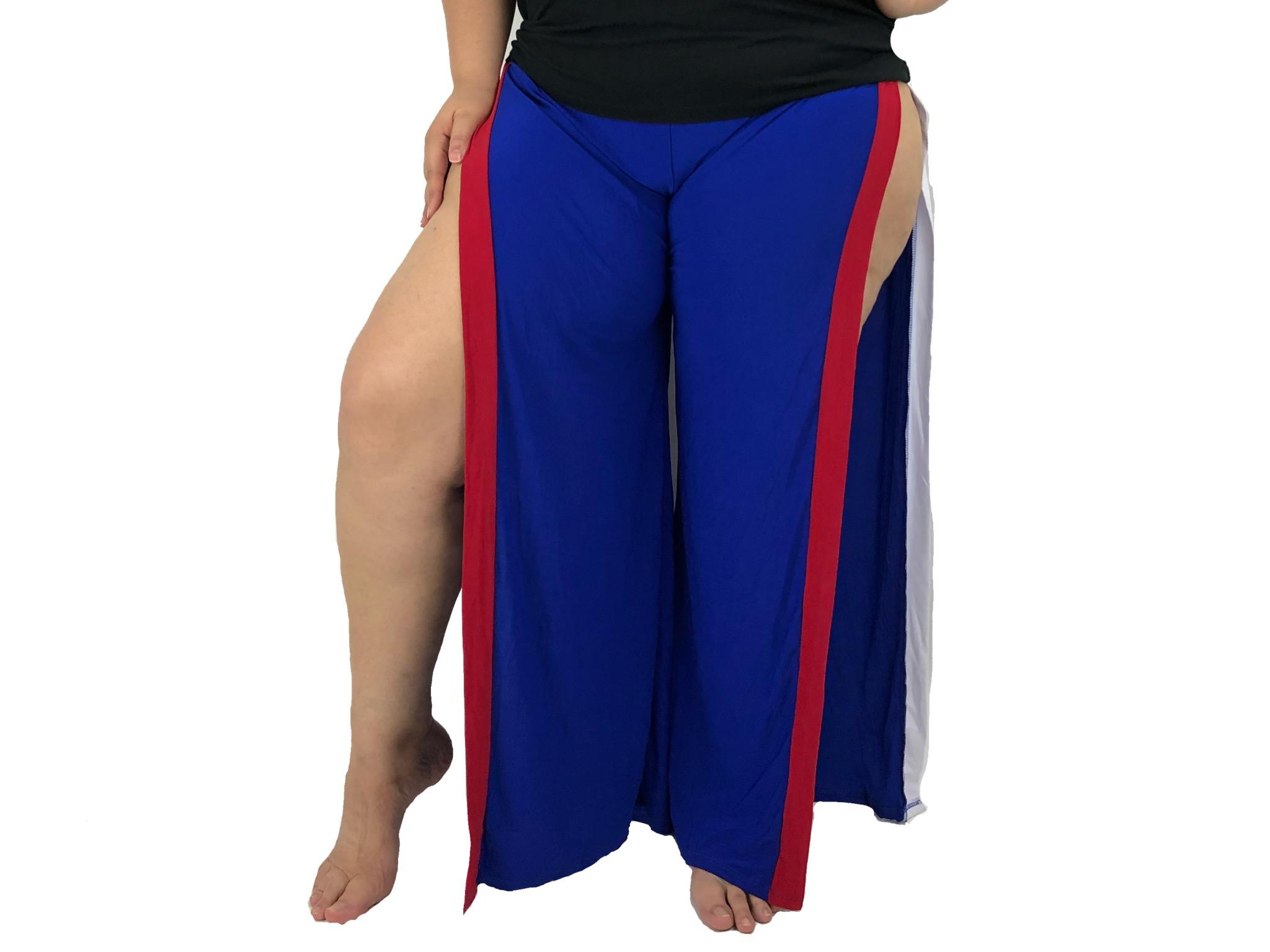 Pantalon Mujer Largo Azul Con Rayas Rojo Y Blanco Al Lado Y Abierto A Los Lados Nuevo Dto Store